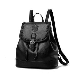 Woman Backpack Litchi Pattern Pu Leather Vintage Casual In 4 Colors Black / 27X28X13Cm Women Backpack