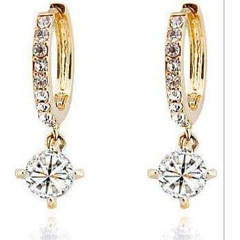 Woman Earrings Gold Austrian Crystal Hoop Earrings 3 Colors Earrings