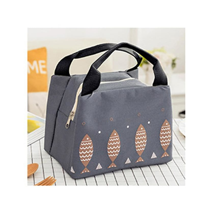 Wome Lunch Bag Insulated Canvas Cooler Thermal Bag 4 Colors Dark Gray Lunch Bag