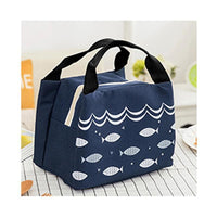 Wome Lunch Bag Insulated Canvas Cooler Thermal Bag 4 Colors Fark Blue Lunch Bag