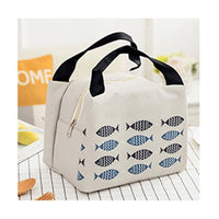 Wome Lunch Bag Insulated Canvas Cooler Thermal Bag 4 Colors Light Gray Lunch Bag