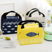 Wome Lunch Bag Insulated Canvas Cooler Thermal Bag 4 Colors Lunch Bag