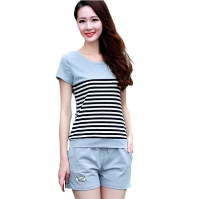 Women 2 Piece Set Summer Striped T Shirt+Shorts 2 Colors Gray / Xl Jumpsuit