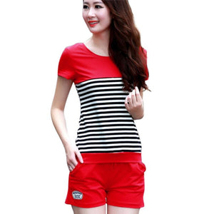 Women 2 Piece Set Summer Striped T Shirt+Shorts 2 Colors Red / Xl Jumpsuit