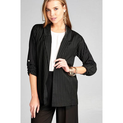 Women 3/4 Roll Up Sleeve Print Stripe Blazer Blazer