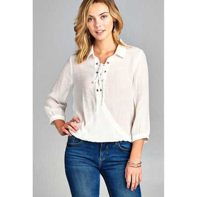 Women 3/4 Sleeve Shirt Collar W/lace Detail Surplice Slub Gauze Woven Top Tops