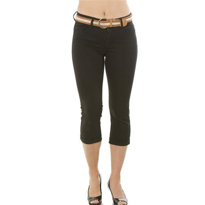 Women 4 Pocket Cuffed Belted Twill Capri Pants
