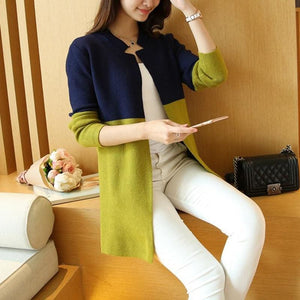 Women Autumn Winter Cardigan Slim Long Casual Warm In 4 Colors Blue Green / One Size Fall Sweater