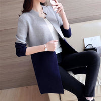 Women Autumn Winter Cardigan Slim Long Casual Warm In 4 Colors Gray Blue / One Size Fall Sweater