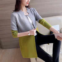Women Autumn Winter Cardigan Slim Long Casual Warm In 4 Colors Gray Green / One Size Fall Sweater