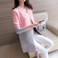 Women Autumn Winter Cardigan Slim Long Casual Warm In 4 Colors Pink Gray / One Size Fall Sweater