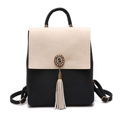 Women Backpack 2 Tones Vintage Tassel Pu Leather Ideal In 4 Colors Women Backpack