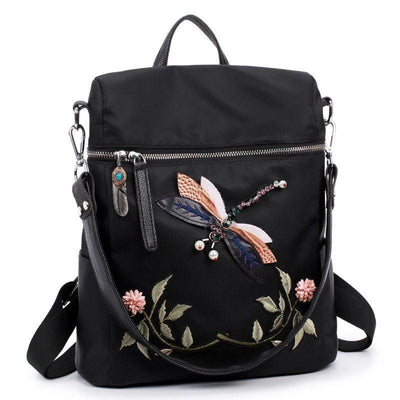 Women Backpack Dragonfly Embroidery Practical Functional Nylon Backpack Women Backpack