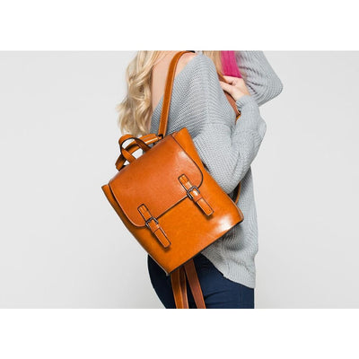 Women Backpack Genuine Leather College School Backpack In 4 Colors Women Backpack