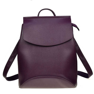 Women Backpack High Quality Youth Pu Leather Backpack In 17 Colors Dark Purple Women Backpack
