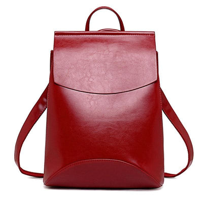 Women Backpack High Quality Youth Pu Leather Backpack In 17 Colors Red Women Backpack