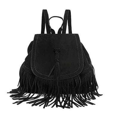 Women Backpack Mini Tassels Rucksack Solid Faux Suede Leather 2 Colors Black Women Backpack