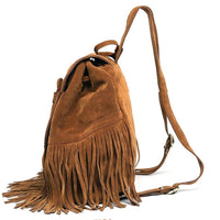 Women Backpack Mini Tassels Rucksack Solid Faux Suede Leather 2 Colors Women Backpack