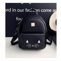 Women Backpack Pu Leather Mini Cat Printing In 3 Colors Black Women Backpack