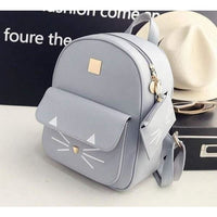 Women Backpack Pu Leather Mini Cat Printing In 3 Colors Women Backpack
