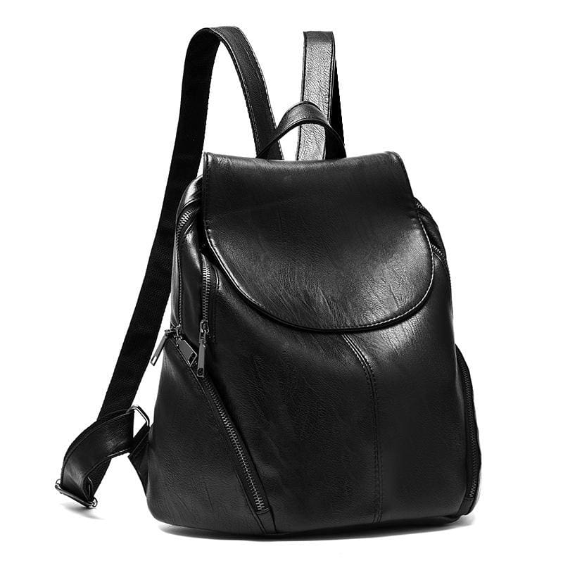 Women Backpack Pu Leather Vintage Large Capacity 2 Colors Black / 35X29X17Cm Women Backpack