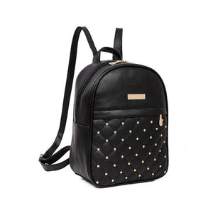 Women Backpacks Casual Travel Bead Pu Leather Teens Backpack In 3 Colors Black Women Backpack