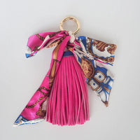 Women Bag Ornament Tassel Pu Leather Pendant Scarf Accessories 5 Colors Rose Red Accessories