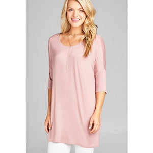 Women Band Elbow Sleeve Round Neck Jersey Tunic Top Tops