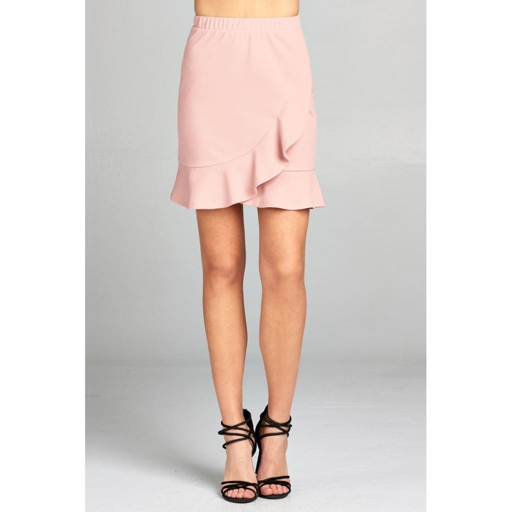 Women Banded Waist Wrap Look W/ruffle Mini Skirt Skirt