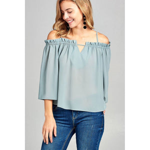 Women Bell Sleeve Open Shoulder Georgette Top Tops