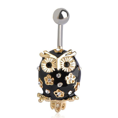 Women Belly Button Black Owl Rhinestone Bird In 2 Colors Black Belly Ring
