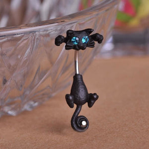 Women Belly Button Cat Ring In 3 Colors Black Gun Plated Belly Ring