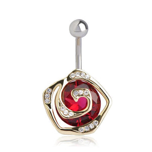 Women Belly Button Flower Crystal Ring In 4 Colors Red Belly Ring