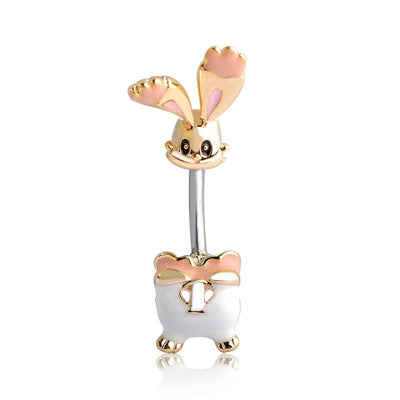 Women Belly Button Gold Color Rabbit Ring Belly Ring