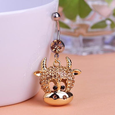 Women Belly Button Gold Cow Bull Dangle Ring Belly Ring