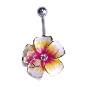 Women Belly Button Green Flower Ring In 3 Colors Gold Yellow Belly Ring
