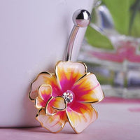 Women Belly Button Green Flower Ring In 3 Colors Belly Ring