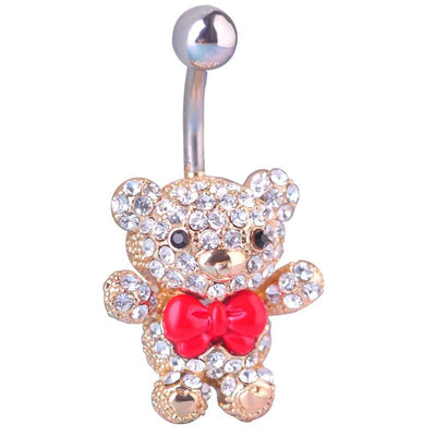 Women Belly Button Kawaii Tie Little Bear Ring In 2 Colors Belly Ring