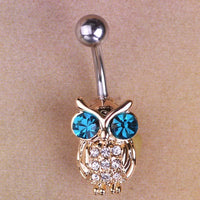 Women Belly Button Owls Blue Bird Ring Gold Blue Belly Ring