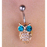 Women Belly Button Owls Blue Bird Ring Belly Ring
