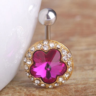 Women Belly Button Rhinestone Flower Jewelry Ring In 3 Colors Belly Ring