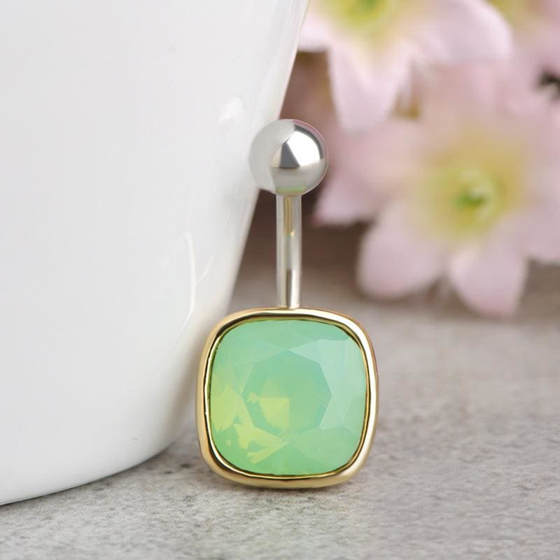Women Belly Button Rhinestone Square Ring Green Belly Ring