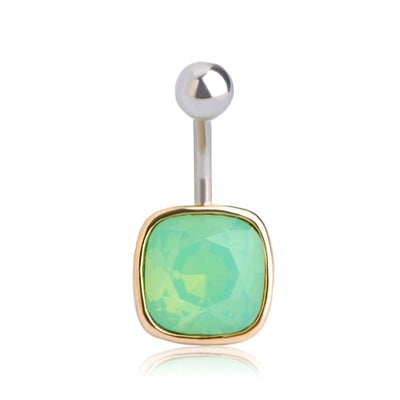 Women Belly Button Rhinestone Square Ring Belly Ring