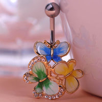 Women Belly Button Ring Crystal Butterfly Ring Gold Green Belly Ring