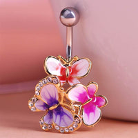 Women Belly Button Ring Crystal Butterfly Ring Gold Red Belly Ring