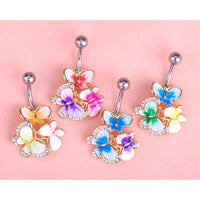 Women Belly Button Ring Crystal Butterfly Ring Belly Ring