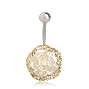 Women Belly Button Ring Cute Rose Body Ring White Belly Ring