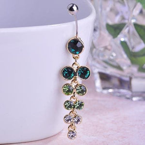 Women Belly Button Ring Exquisite Long Pendant In 3 Colors. Green Belly Ring