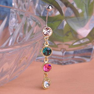 Women Belly Button Ring Round Rhinestones Colorful Belly Ring
