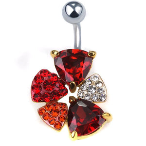 Women Belly Button Ring Steel Sexy Violet Flower Body Gold Ruby Belly Ring